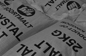 Bags of brewing ingredients, crystal malt sourced from the United Kingdom